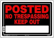 Posted - No Trespassing - Keep Out, Aluminum Sign, 10 X 14 - Pack Of 6 Signs