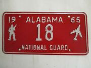 Nice 1965 Alabama National Guard License Plate Tag Two Digit