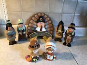 Vintage Thanksgiving Hand Carved Wood Set Of 7 Set New Home Interiors Gifts Gtc