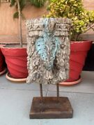 Eagle Statue Bracket 1800's Antique Wood Hand Carved Painted Panel With Stand