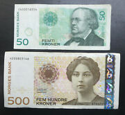 2 Norway Norges Bank Notes 50 And 500 Kroner 2011 2012 Fifty And One Hundred Krone