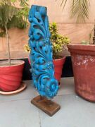 Rare Blue Floral Bracket 1700and039s Antique Wood Hand Carved Painted Panel And Stand