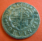 1761 Spanish Silver 2 Reales Antique Colonial 1700s Two Bit Pirate Xf Mpj Coin