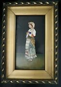 Antique Italian Pietra Dura 8 Plaque Young Girl Knitting Peasant Colorful