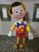 Pinocchio Wooden Carved Vintage Doll, Orig. Box And Storybook
