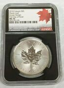 2018 Canada Silver Maple Leaf Coin Incuse Design 30th Anniversary Ngc Ms70 K838