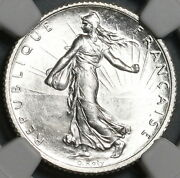 1916 Ngc Ms 66 France 1 Franc Sower Mint State Wwi Silver Coin 21050101c