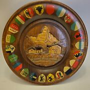 Vintage Swiss Carved Wooden Plate Canton Crests Flags Wall Hanging