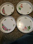 4 Christineholm Porcelain Rose Baking Plates 9in And 10in