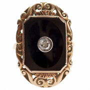Wonderful Antique Gold Ring With Diamond And Onyx Gold 583 Jewelry