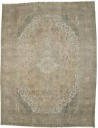 Hand-knotted Muted Distressed 8and0398x11and0394 Antique Vintage Oriental Rug Wool Carpet