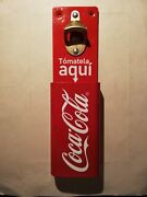 Mexican Coca Cola Coke Bottle Opener And Cap Catcher Wall Mount Stationary