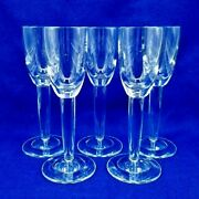 Vintage 5 Toasting Tall Crystal Footed 2oz Shot Cordial Glasses Unique Shape Mcm
