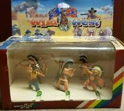 Vintage 2000and039s Wild West Britains Indians Super Deetail Toy Figures Lot 6 Nib