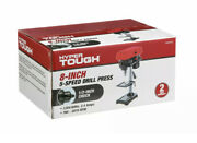 2.4 Amp Corded 8 Inch Drill Press, 1/2 Inch Chuck, 5 Speed With Depth Stop, New