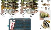 Fishing Lures For Bass, 8 Pieces Hard Plastic Multi Jointed Bionic Swimming