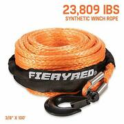 Synthetic Winch Rope 3/8 X 100and039 - 23809 Ibs Winch Line Cable Rope For 4wd Off
