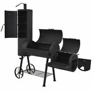Heavy Bbq Offset Smoker With Bottom Shelf Black Xxl Charcoal Barbecue Grill