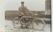 Rppc Of Man Standing With Yale Motorcycle – Small Pennant Logo On Tank 1910-15