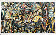 Pollock Style Huge Canvas Hand Painted Oil Paintings - 80x46 Pasiphae 1943