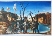 Dali Style Large Hand Painted Oil Paintings - 48x32 Swans Reflecting Elephants