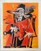 Picasso Style Hand Painted Oil Paintings 36x48 Musketeer Seated Holding A Sword