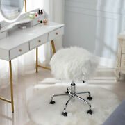 Faux Fur Stool Faux Fur Vanity Chair With Metal Chrome Base For Bedroom White
