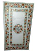 30x60 Inches Marble Restaurant Table Top With Carnelian Inlaid Dining Table Top