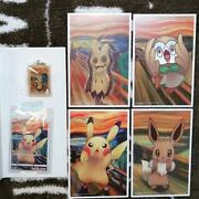Pokemon Card Munch Exhibition Limited Pikachu Rare Card And 4 Postcards Set