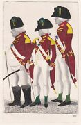 John Kay Hand-coloured Antique Etching. Three Officers Of The Hopetoun..., 1795