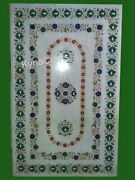 30x48 Inch Marble Dining Table Top With Semi Precious Stone Inlaid Meeting Table