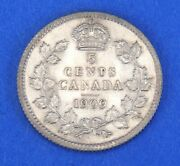 1909 Edward Vii Silver Canadian 5 Five Cents Coin - Pointed Leaves Variety Unc