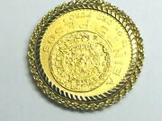 1918's Mexico 20 Pesos Gold Coin In 14k Yellow Gold Rope Bezel 19.6gm