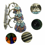Wall Sconce Lamp 3-light Vanity Light Fixtures Stained Glass Lampshade