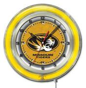 Missouri Tigers Hbs Neon Yellow Gold College Battery Powered Wall Clock 19