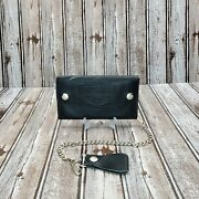 Harley Davidson Large Bifold Black Leather Trucker Wallet Chain Bar And Shield