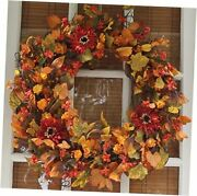 Highland Silk Fall Door Wreath, 22 Inches, Beautiful White Gift Box Included