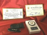 Rare Vp George Hw Bush White House Marble Signed Paperweight And Knife Gift Set