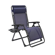 L Folding Zero Gravity Lounge Chairs Recliner Utility Tray Outdoor Beach Patio