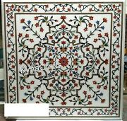 42x42 Inches Marble Hallway Table Top With Pietra Dura Art Dining Table For Home