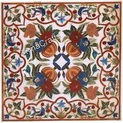 42 X 42 Inches Dining Table Top Pietra Dura Art Marble Sofa Table For Home Decor