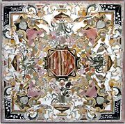 42 X 42 Inches Marble Inlay Dining Table Top With Intricate Work Sofa Table Top