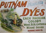 Old Putnam Dyes Country Store Cabinet Sign Monroe Drug Co Usa Tin Wood