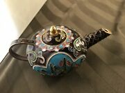 Vintage Mini Brass And Hand Painted Enamel Teapot