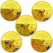Anime Pokemon Pikachu Gold Plated Coin Game Collection Card Kids Toy Genuine
