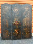 3 Panel 1920and039s Floral Oil Painting Antique Screen Room Divider 60 X 72