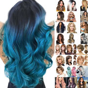 Womens Ombre Wavy Curly Short Hair Wig Straight Long Wigs Anime Cosplay Fancy