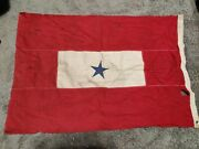 Vintage Wwii Blue Star Service Flag For Military Family Display Damaged