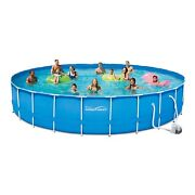 Summer Waves 24ft Active Frame Round Above Ground Swimming Pool With Filter Pump