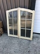 """Pair Nos Arched Windows Doors 42.75"""" X 19.5 X 1 7/8"""" Old Wavy Glass Primer Coat"""